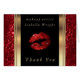 Makeup Artist  Red Glitter Lips on Black Card