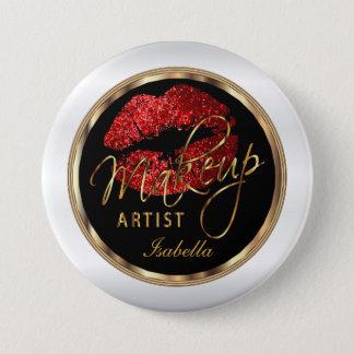 Makeup Artist - Red Glitter On Black & White 3 Inch Round Button