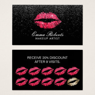 Makeup Artist Red Lips Black Glitter Loyalty Business Card