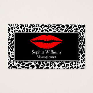Makeup Artist Red Lips Black & White Cheetah Business Card