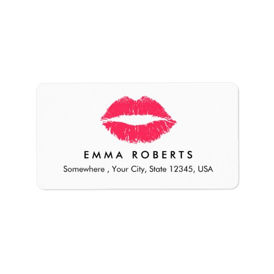 Makeup Artist Red Lips Elegant Beauty Salon Label