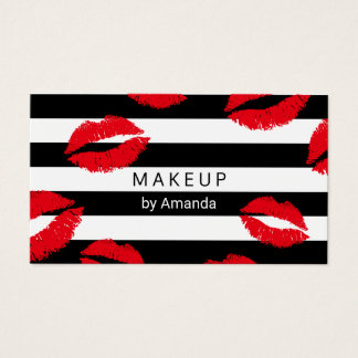 Makeup Artist Red Lips Kisses Modern Stripes Business Card