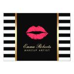 "Makeup Artist Red Lips Modern Black White Stripes 5"" X 7"" Invitation Card"