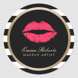 Makeup Artist Red Lips Modern Black White Stripes Classic Round Sticker