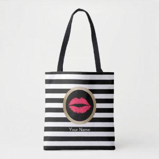 Makeup Artist Red Lips Modern Black White Stripes Tote Bag