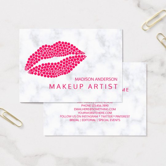 Makeup Artist | Red Lips Modern Dots Design Business Card