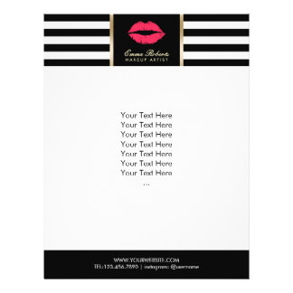 Makeup Artist Red Lips Modern Stripes Salon Flyer