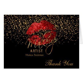 Makeup Artist  Red Lips on Black Card