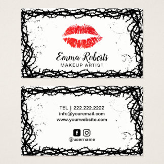Makeup Artist Red Lips Thorn Vine Frame Business Card