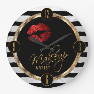 Makeup Artist Red Lips with White Stripes Clocks