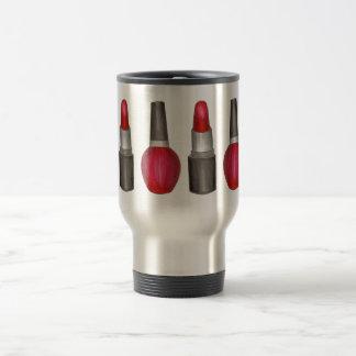 Makeup Artist Red Lipstick Nail Polish Beauty Travel Mug