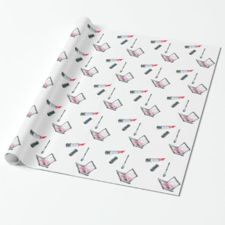 Makeup Artist Red Lipstick & Pink Eye Shadow Wrapping Paper