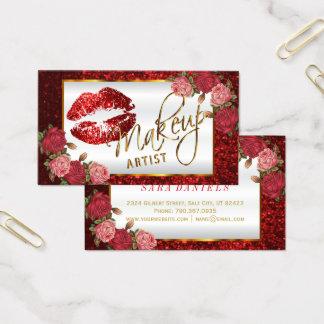 Makeup Artist - Red Rose Glitter Lip Design Business Card