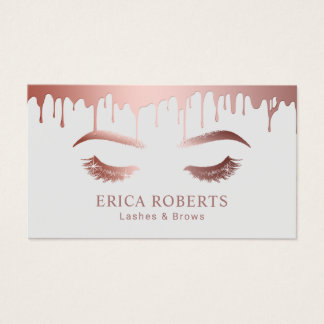 Makeup Artist Rose Gold Dripping Lashes & Brows Business Card
