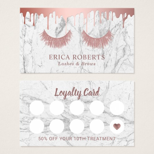 Makeup Artist Rose Gold Eyelash Marble Loyalty Business Card