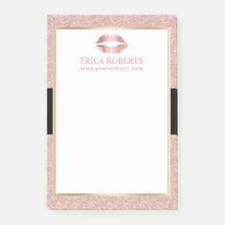 Makeup Artist Rose Gold Glitter Lips Modern Salon Post-it Notes