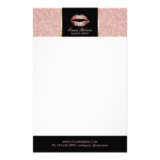 Makeup Artist Rose Gold Glitter Lips Modern Salon Stationery