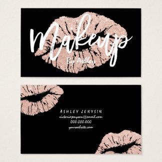 Makeup artist rose gold glitter lips typography business card