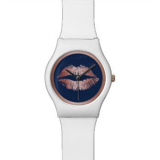Makeup Artist Rose Gold Lips Elegant Navy Blue Wrist Watches