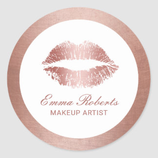 Makeup Artist Rose Gold Lips Modern Beauty Salon Round Sticker