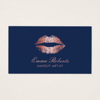 Makeup Artist Rose Gold Lips Navy Blue Salon Business Card