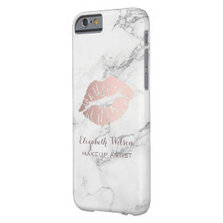 makeup artist rose gold lips on marble barely there iPhone 6 case
