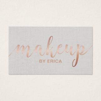 Makeup Artist Rose Gold Script Elegant Linen Business Card