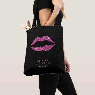 Makeup artist salon name hot pink lips black tote bag