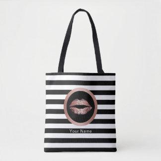 Makeup Artist Salon Rose Gold Lips Modern Stripes Tote Bag