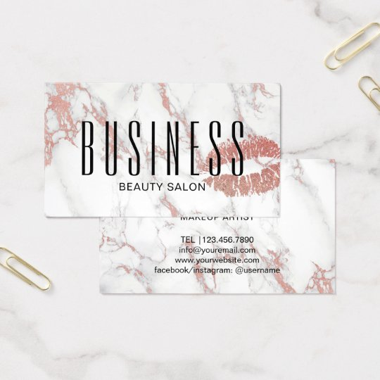 Makeup Artist Salon Rose Gold Lips Trendy Marble Business Card