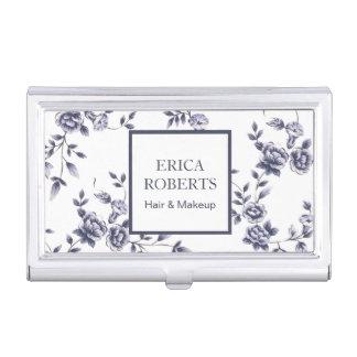 Makeup Artist Salon Vintage Blue Floral Business Card Holder