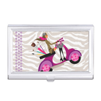 Makeup Artist Scooter Girl Fashion Cute Cool Zebra Business Card Holder