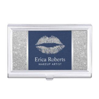 Makeup Artist Silver Glitter Lips Beauty Salon Business Card Holder
