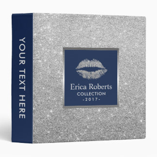 Makeup Artist Silver Glitter Lips Navy Blue Salon 3 Ring Binders