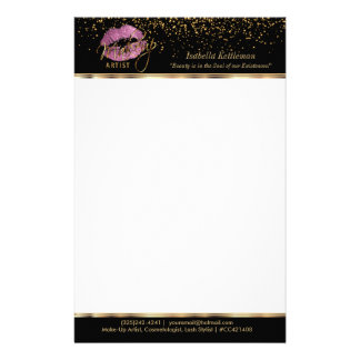 Makeup Artist So Pink Glitter Lips Stationery