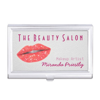 Makeup Artist Sparkle Red Lips Modern Salon Business Card Holder