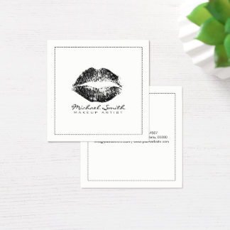 Makeup Artist Stylish Black Glitter Lips Square Business Card