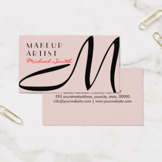 Makeup Artist Stylish Monogram Modern Dust Storm Business Card