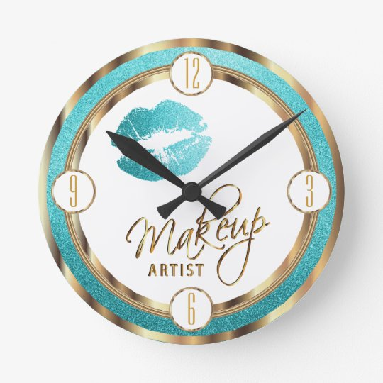 Makeup Artist Teal Lips with Gold and White Round Clock
