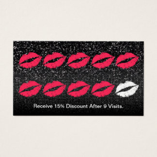 Makeup Artist Trendy Black Glitter Loyalty Punch Business Card