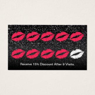 Makeup Artist Trendy Black Glitter Loyalty Punch Business Card