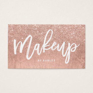 Makeup artist typography faux rose gold glitter business card