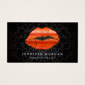 Makeup Artist Unique 3D Gold Red Lips Damask Business Card