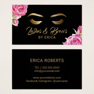 Makeup Artist Vintage Floral Lashes & Brows Business Card