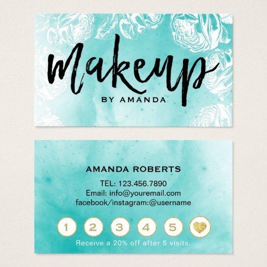 Makeup Artist Watercolor Floral Salon Loyalty Business Card