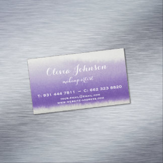 Makeup Artist Watercolor Lavender Magnetic Business Card