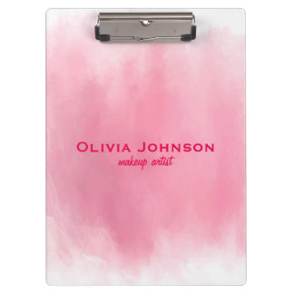 Makeup Artist Watercolor Pink Clipboard