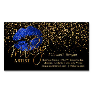 Makeup Artist with Gold Confetti & Blue Lips Business Card Magnet