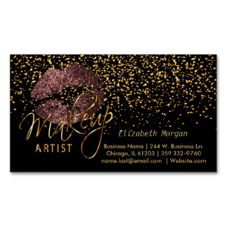 Makeup Artist with Gold Confetti & Dark Rose Lips Business Card Magnet