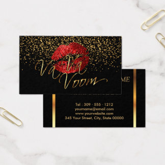 Makeup Artist with Gold Confetti & Red Lips Business Card
